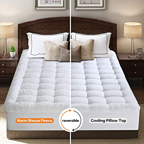 INGALIK Queen Mattress Topper - Cooling 400TC Pillow Top Mattress Pad Cover/Warm Plush Sherpa Fleece Reversible Quilted Fitted Mattress Protector with 8-21 Inch Deep Pocket for All Season