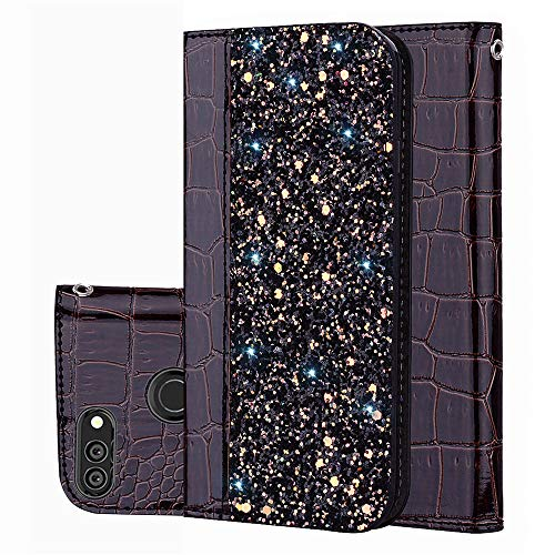 P Smart PU Leather Wallet Custodia BestCatgift [Crocodile Pattern][Shimmering powder] Flip Cover With Wrist Strap per Huawei Enjoy 7S/P smart/Honor 9 Lite/Nova Lite 2 - Black Brown