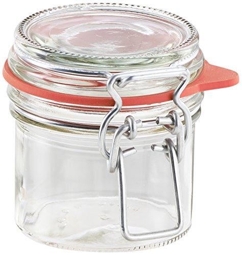 Leifheit Drahtbügelglas, 135 ml, spülmaschinenfestes Einmachglas, Vorratsglas zum Einlegen, Einmachen und Einkochen, dekoratives Einmachglas mit Deckel