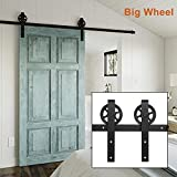 DOIT 6.6Ft Big Wheels Indoor Sliding Barn Door Hardware Rail Track Kit for Wood Single Door Hardware, Antique Style