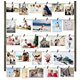 "Multi Photo Display - The wood photo frame comes with 30 ""clothespins"", 6 short wood pieces and 5 twine cords, which satisfies multi pictures display Wonderful Decoration - Great way to organize and display pictures, casual and neat design; fun and u..."