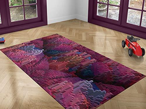 Oedim Alfombra Infantil Cubos 3D para Habitaciones PVC | 95 x 133 cm | Moqueta PVC | Suelo vinílico | Decoración del Hogar | Suelo Sintasol | Suelo de Protección |