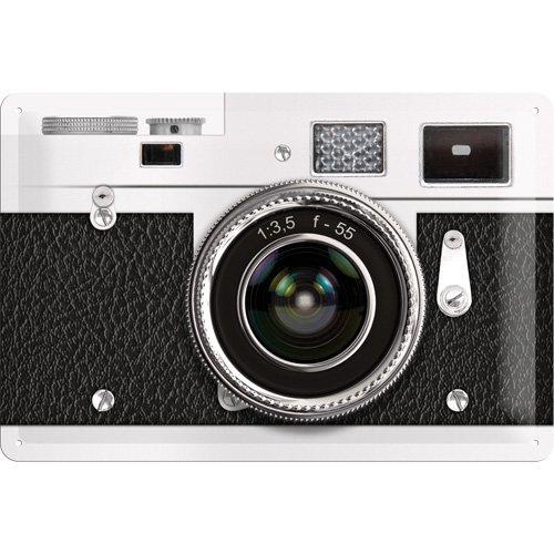 Nostalgic Art Achtung – Retro Camera – Geschenk-Idee für Nostalgie-Fans Blechschild 20x30 cm, aus Metall, Bunt, 20 x 30 cm