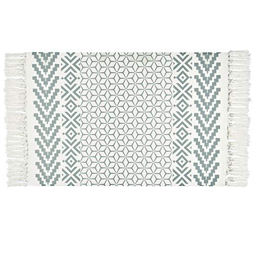 Elloevn Handgewebte Teppiche, Baumwolle Waschbar Geometrische Bedruckt Dekorative Teppich Läufer mit Böhmischen Quasten für Eingangstür, Schlafzimmer, Küche, Mintgrün, 60 * 90 cm