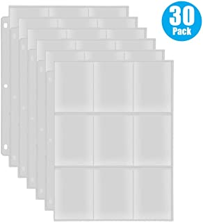RETTACY Baseball Card Sleeves 9-Pocket,Transparent Trading Card Page Protectors 3 Ring Binder for Pokemon Trading Cards,Baseball Cards,Business Cards,30 Pack