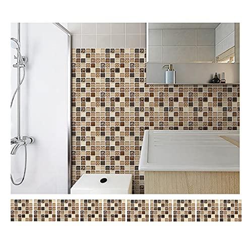 ZHANGDONG Pegatinas de BaldosasPara Baño Y Cocina 50 Hojas De 15 X 15 Cm (5,9'x 5,9') PVC Adhesivo Autoadhesivo para Azulejos de Mosaico Paneles de Pared de 0,53 Mm de Grosor
