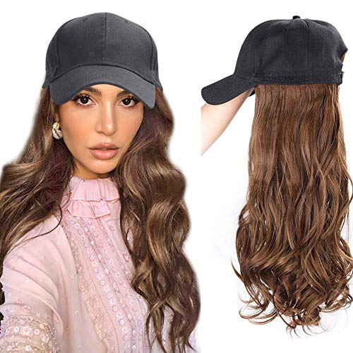 AISI BEAUTY Baseball Cap Wigs for Women Long Wavy Synthetic Hat Wigs for Women Baseball Hat with Hair Attached for Halloween Cosplay Costume Daily Party Use (8/30#)