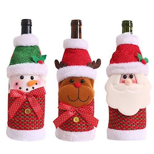 Petalum Weihnachten Deko weinrot Weinflasche Flaschenanzug Flaschenüberzug Weihnachtsmann Hut Flaschebeutel Flaschetasche Party Geschenke (Einheitsgröße, 3PCS Weihnachtsmann Schneemann Rentier)
