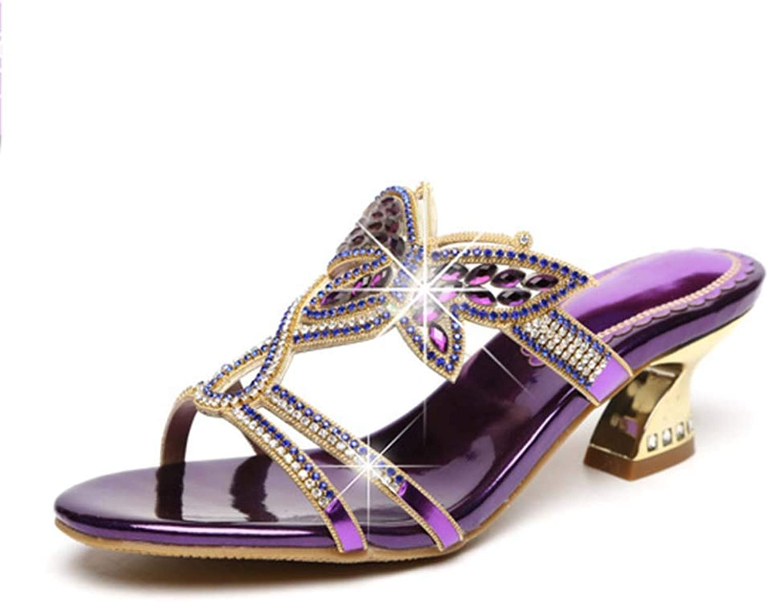 Women's Slippers Rhinestone Butterfly with Leather Roman Sandals Low Heel Slippers Summer New