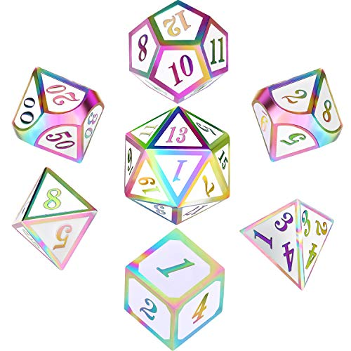 Polyhedral Metal Dices Set Zinc Alloy with Enamel Solid Metal for DND Game, Tabletop RPG, Dungeons and Dragons, Math Teaching, 7 Pieces Dice Set with Black Velvet Bag (Electrophoretic Colorful White)