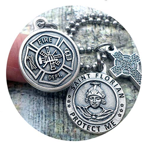 St. Florian Fire Fighter Protection Necklace, Patron Saint, Keychain or Purse-Backpack Clip