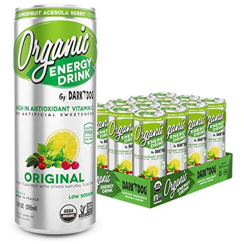 Organic Energy Drink by Dark Dog– Original 12 Oz (12 Count) Powerful Organic Caffeine From Green Coffee, Green Tea & Guarana   High In Antioxidant Vitamin C From Superfruit Acerola