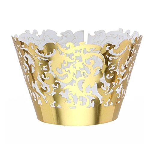 ROSENICE 50 Stück Cupcake Wrappers Muffin Hülle für Hochzeit Geburtstag Party
