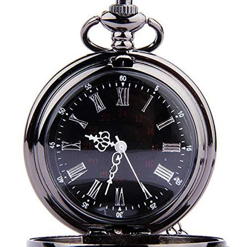 ACEHE Pocket Watch,Unisex Steampunk Luxury Vintage Chain Quartz Pocket Watch Roman Pattern Hollow Pointer with Roman numerals Display