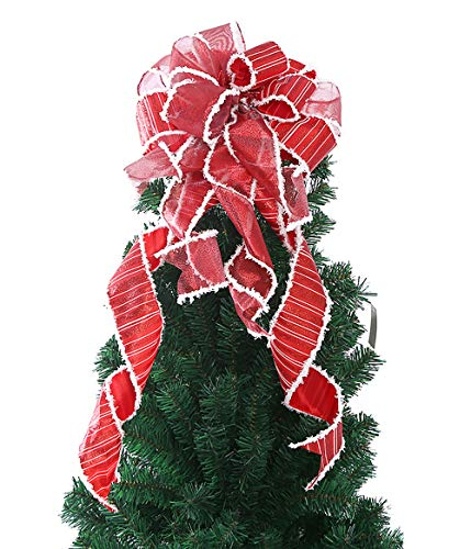 FLASH WORLD Christmas Tree Topper,22x12 Inches Buffalo Plaid Toppers Bow with Streamer Wired Edge for Christmas Decoration (Red)