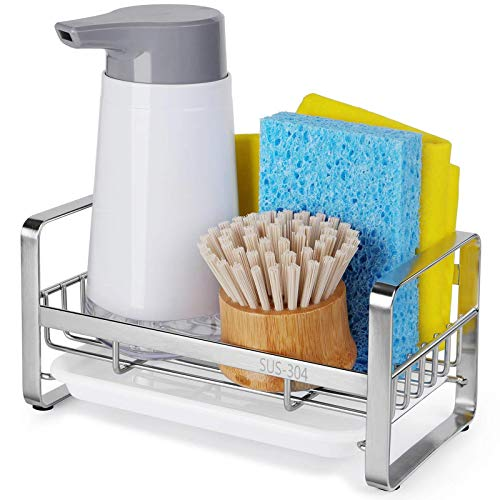 HULISEN Kitchen Soap Dispenser Caddy, 304 Stainless Steel Sponge Holder, Kitchen Sink Organizer, Sink Caddy, Countertop Dish Soap Holder with Removable Drain Tray (not Including Dispenser and Brush)