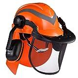 SAFEYEARプロフェッショナルフォレストリーチェーンソー安全ヘルメット、調整可能な27SNRイヤーマフ、メッシュバイザー付き。 M-5009OR EN397チェーンソー、林業、造園用に承認された高品質のヘルメット。