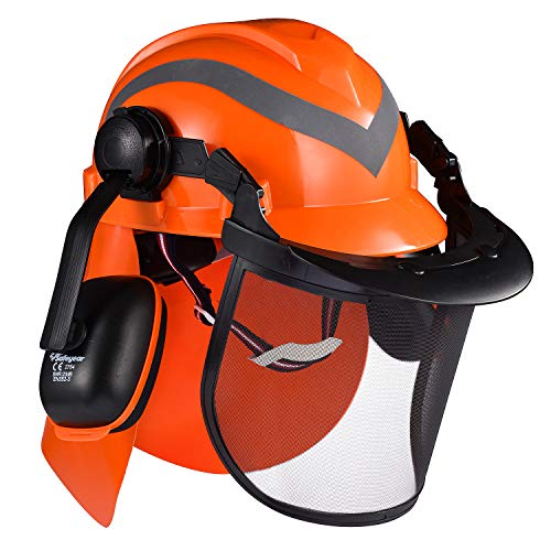 SAFEYEAR Casco de seguridad para motosierra forestal profesional con orejeras ajustables 27SNR, visera de malla. Casco M-5009OR Aprobado EN397 para motosierra, trabajos forestales, paisajismo