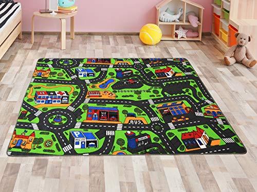 Primaflor - Ideen in Textil Kinderteppich Spielteppich Stadt Straßenteppich - 95 x 200 cm Spielmatte, Verkehrsteppich, Teppich mit Straßen