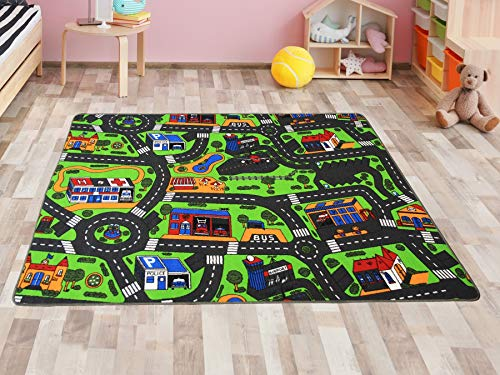 Primaflor - Ideen in Textil Kinderteppich Spielteppich Stadt Straßenteppich - 140 x 200 cm Spielmatte, Verkehrsteppich, Teppich mit Straßen