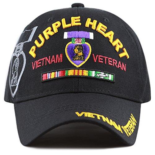 The Hat Depot Official Licensed U.S. Military Vietnam Veteran Ribbon Cap (Black-Purple Heart)