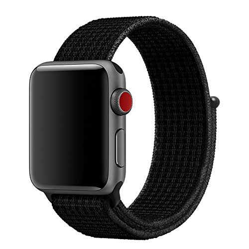 COVERY コンパチブル apple watch バンド,アップルウォッチ バンド スポーツループバンド 新しいナイロン 軽量通気性 コンパチブルiWatch通用ベルト apple watch series 5/4/3/2/1に対応(ダークブラック,42mm,44mm)