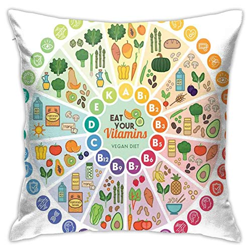 DHNKW Throw Pillow Case Cushion Cover,Vitamin Vegan Food Sources and Functions Rainbow Wheel Chart with Icons Healthcare ,18x18 Inches