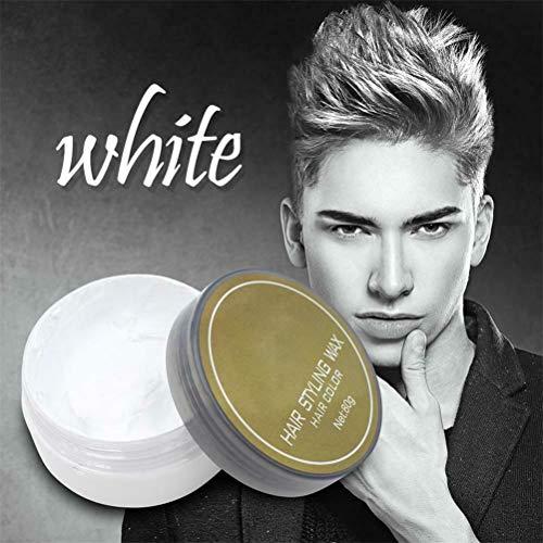 Prettymyself Silver Grey Temporary Hair Colour Wax, Men Women Grandma Hair Ash Dye Gray Mud, Temporary Silver Color Grey Portable, Hair Wax Dye Styling Cream Mud (Grandpa White)