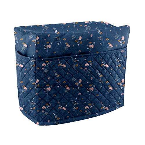 Cheng Yi Quilted Sewing Machine Cover,Heavy Duty Polyester Dust Cover Protector with Pockets for Most Standard Brother & Singer Machines,Keep Clean and Safe,Machine Washable (Blue Printed) CYFC1455 -  CYFC1455-1458-1461