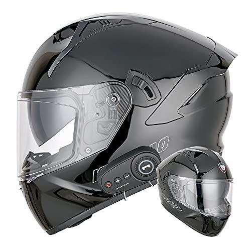 Wan&ya Casco Integral Bluetooth para Moto Cascos de Moto abatibles hacia Arriba en Negro Brillante Lente antivaho Doble Casco de protección Modular para Adultos Certificado por Dot,L(58~60)