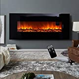 Electric Fireplace Wall Mounted Electric Fire with Remote Control Timer Adjustable Thermostat and Flame Effect 2 Heat Settings 1280x140x551mm