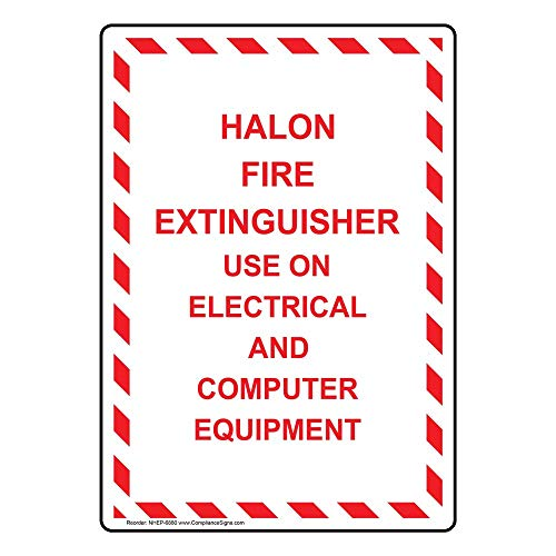 Vertical Halon Fire Extinguisher Use On Electrical and Computer Equipment Sign, 10x7 inch Aluminum for Fire Safety/Equipment by ComplianceSigns