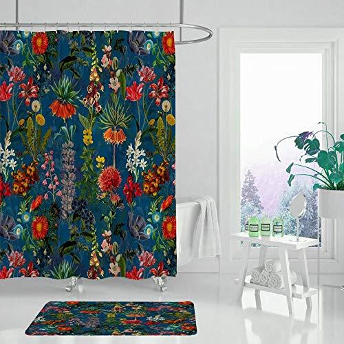 XCBN Jardin Fleur Plante Fleur Rideau de Douche Salle de Bain Rideau imperméable et résistant à la moisissure Rideau de Douche avec Crochet A2 150x180 cm