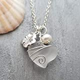 Handmade in Hawaii, wire wrapped'Crystal' Heart sea glass necklace,'April Birthstone', Hawaii State Flower Hibiscus and Pearl, (Hawaii Gift Wrapped, Customizable Gift Message)