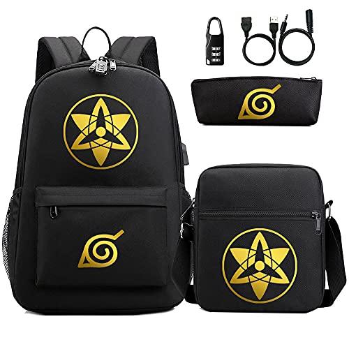 XUNUOL Naruto Code Backpack Anime Backpack 3D Notebook Computer School Backpack Pen Case Diagonal Backpack School Bag Three-piece Set
