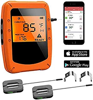 Meat Thermometer, Wireless BBQ Thermometer for Grilling,Digital Bluetooth Meat Thermometer Instant Read, with 2 Waterproof...