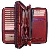 Hill Burry Cartera para Pasaporte de Cuero  Portadocumentos - Organizador de Viaje   Documentos - Billetera - Monedero   Hombre - Mujer   XXL Grande Capacidad (Rojo)
