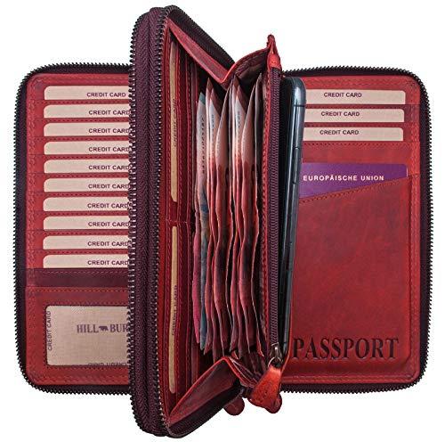 Hill Burry Cartera para Pasaporte de Cuero| Portadocumentos - Organizador de Viaje | Documentos - Billetera - Monedero | Hombre - Mujer | XXL Grande Capacidad (Rojo)