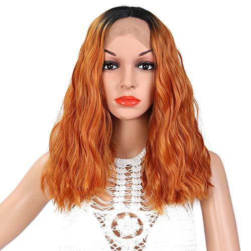 YanT HAIR Perruque synthétique avec dentelle frontale pour femme - Coupe carré ondulée - Longueur des épaules : 35,6 à 38,1 cm - Couleur ombrée 1B/ora
