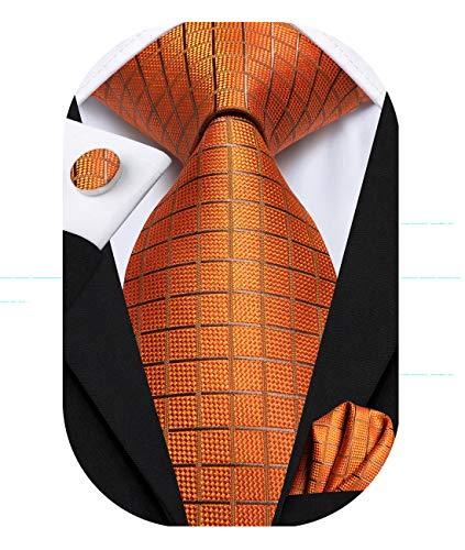 Hi-Tie 63 pulgadas de seda para hombre corbata conjunto extra larga corbata tejida bolsillo Suqare - naranja - Medium