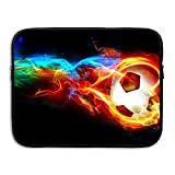 Business Briefcase Sleeve Colorful Fire Football Soccer Laptop Sleeve Case Cover Handbag For 15 Inch Macbook Pro Air Lenovo Samsung