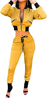 Howely Women Cropped Active Workout Lounge 2 Piece Set Zip Up Activewear