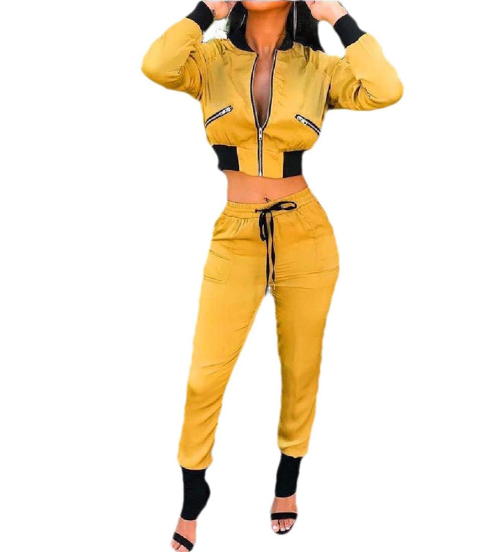 タールシャベルフレキシブルRomancly 女性カジュアル2ピースクロップドジップフロントワークアウトトラックスーツ衣装