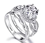 Engagement Ring Wedding Set White Gold Plated 18K Sterling Silver 925 Cubic Zirconia Queens Crown AAAAA+ Alternative to Diamonds 2.0 Carat Anniversary Valentines Promise Marriage Bridal Size 6