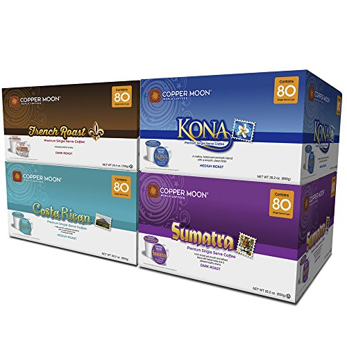 Copper Moon Coffee Single Serve Pods for Keurig 2.0 K Cup Brewers, Around The World for Coffee Lovers Variety Pack (80 Kona Blend, 80 Sumatra Blend, 80 Costa Rican Blend, 80 French Roast) 320Count