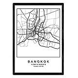 Nacnic Drucken Stadtplan nordischen Stil Bangkok schwarz