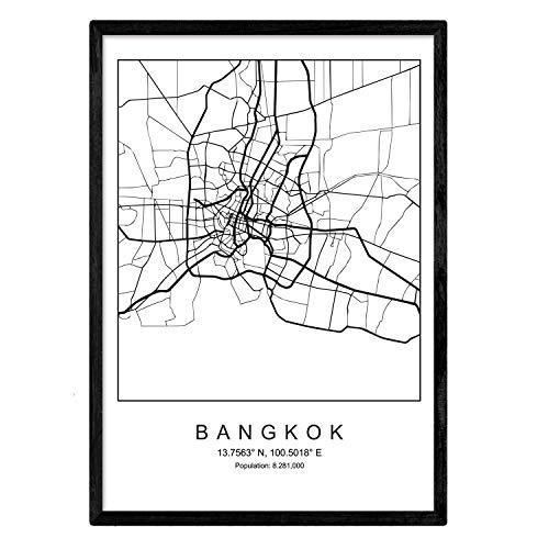 Nacnic Lámina Mapa de la Ciudad Bangkok Estilo nordico en Blanco y Negro. Poster tamaño A3 Sin Marco Impreso Papel 250 gr. Cuadros, láminas y Posters para Salon y Dormitorio