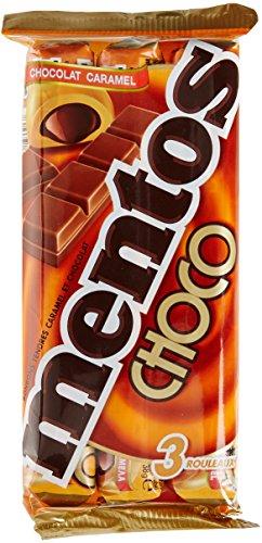 Mentos - Pack de 3 Rouleaux de Bonbons Mentos Choco - Caramel Tendre Fourré au Chocolat au Lait - Rouleaux Mentos à Partager et à Emmener Partout