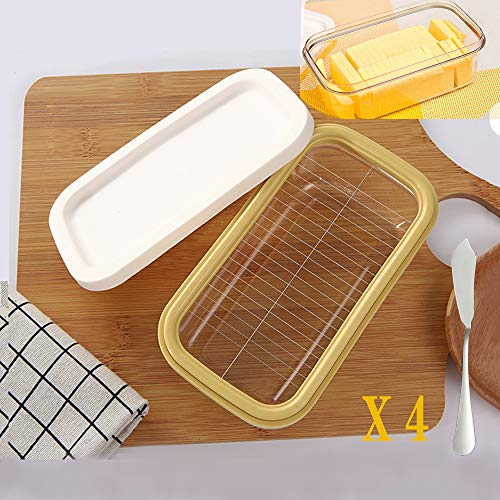 YOUTH BURST Butter Dish Cheese Slicer for Easy Cutting Safety Butter Box with Lid for Fridge Butter Container and Storage Case Idea Present for Family and Friends,2