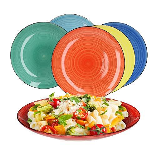 MamboCat Lot de 6 assiettes plates colorées style rétro I Ø 26,5 cm I 6 couleurs I Design en spirale